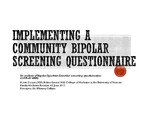 Implementing a Community Bipolar Screening Questionnaire in VT