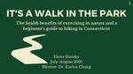 It's a Walk in the Park: The health benefits of exercising in nature and a beginner's guide to hiking in Connecticut by Elena Dansky