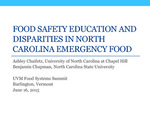 Food Safety Education and Disparities in North Carolina Emergency Food by Ashley Chaifetz and Benjamin Chapman