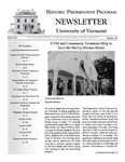 Historic Preservation Program newsletter by University of Vermont. Historic Preservation Program.